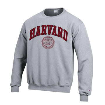 Harvard University Crimson Men's  Champion Crew-Neck Sweatshirt-Gray
