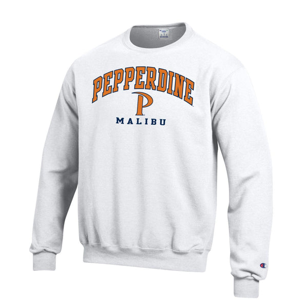 Pepperdine University Waves P Champion crew neck sweatshirt-White-Shop College Wear
