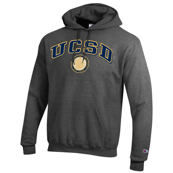U.C. San Diego Tritons Champion Hoodie Sweatshirt-Charcoal-Shop College Wear