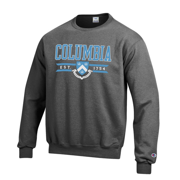 Columbia University Lions Champion crew-Neck sweatshirt-Charcoal-Shop College Wear
