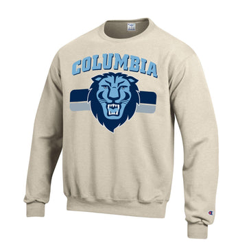 Columbia University Lions Champion Crew-Neck Sweatshirt-Oatmeal