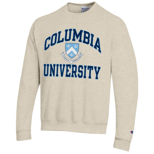 Columbia University arch & shield champion crew-neck sweatshirt-Oatmeal-Shop College Wear