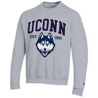 University of Connecticut Uconn Huskies Champion crew-neck sweatshirt-Gray-Shop College Wear