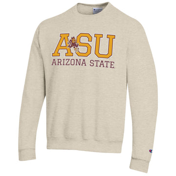 Arizona State University A.S.U. Sparky Champion crew neck sweatshirt-Oatmeal