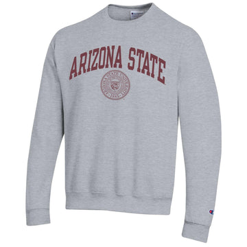Arizona State A.S.U. arch & seal Champion crew-neck sweatshirt-Gray