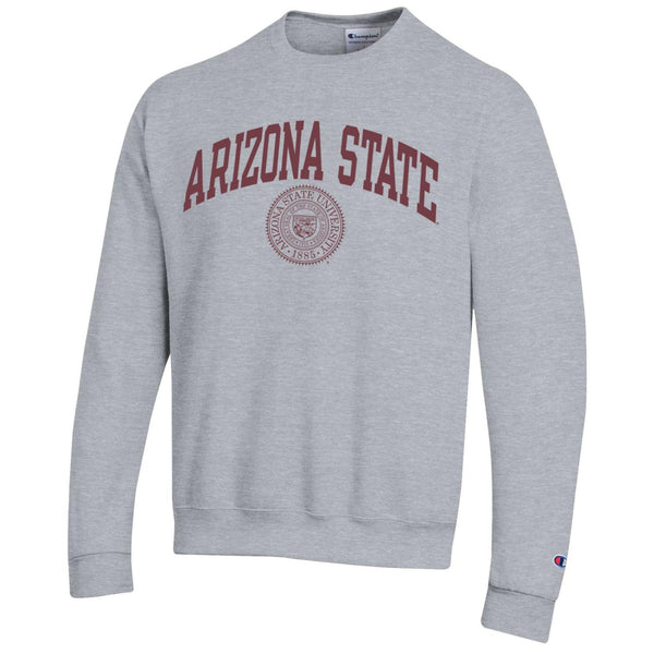 Arizona State A.S.U. arch & seal Champion crew-neck sweatshirt-Gray-Shop College Wear