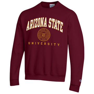 Arizona State University A.S.U. arch & seal Champion crew-neck sweatshirt-Maroon