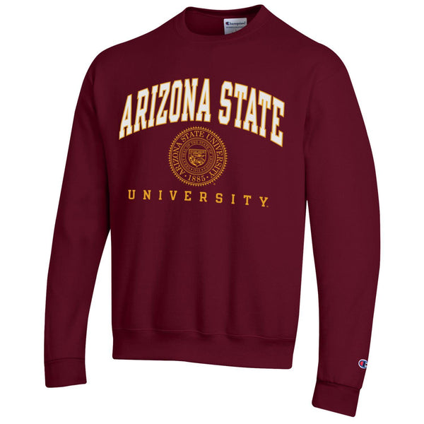 Arizona State University A.S.U. arch & seal Champion crew-neck sweatshirt-Maroon-Shop College Wear