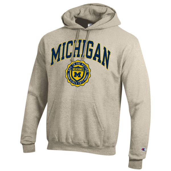 University of Michigan arch & seal Champion hoodie sweatshirt-Oatmeal-Shop College Wear