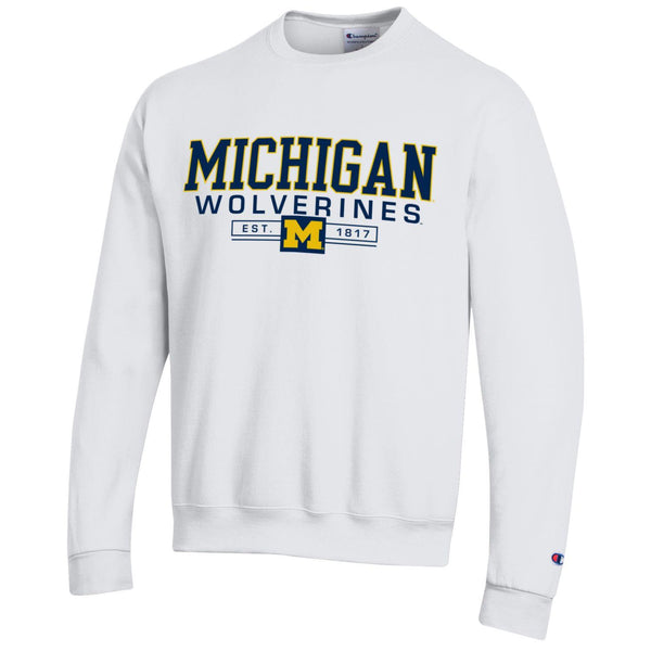 Michigan University Wolverines crew-neck Champion sweatshirt-White-Shop College Wear