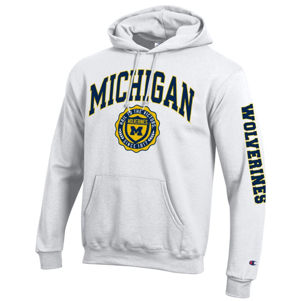 University of Michigan Wolverines Champion hoodie sweatshirt-White-Shop College Wear