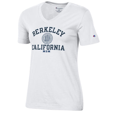 U.C. Berkeley arch & seal Mom Champion T-Shirt-White