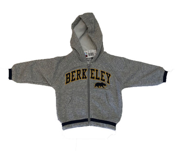 U.C. Berkeley Cal embroidered zip-up hoodie sweatshirt-Gray
