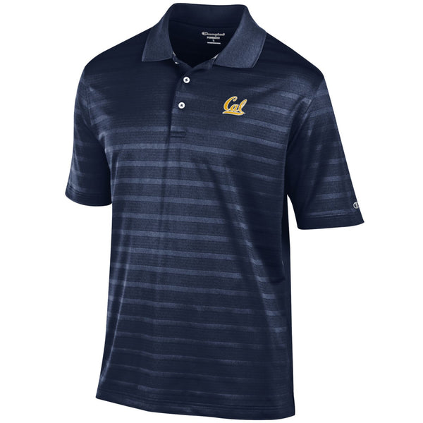 UC Berkeley Cal Embroidered Champion Men's Textured Polo Shirt- Navy-Shop College Wear