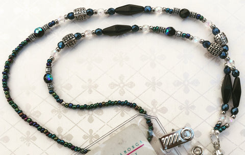 Lanyard made with 24mm black glass lantern beads