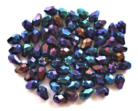 Lot of 25 7 x 5mm Blue Iris teardrop Czech glass beads, faceted firepolished beads C3601 - Glorious Glass Beads