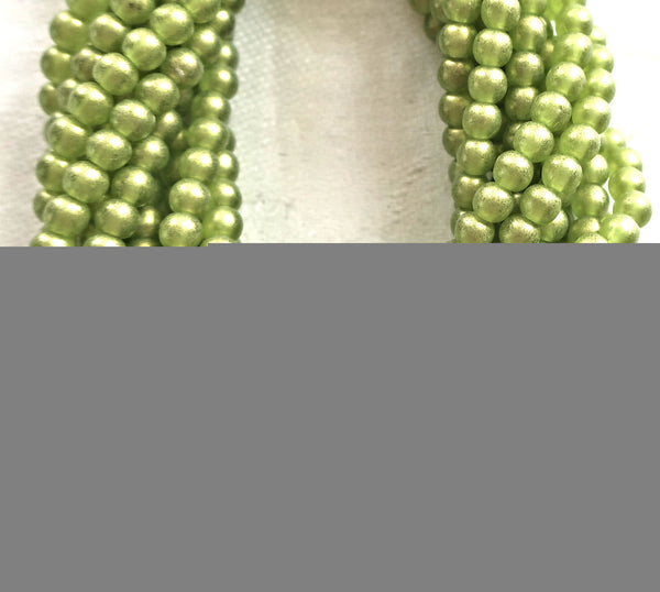 Lot of 100 4mm Czech glass druk beads, Sueded Gold Olivine Green, smooth round druks C3601 - Glorious Glass Beads