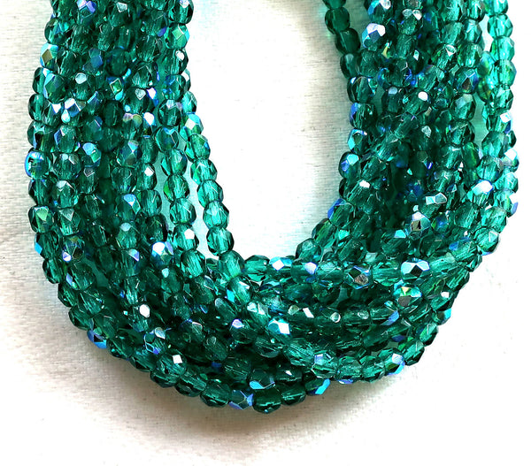 Lot of 50 3mm Emerald Green AB Czech glass beads, faceted, round, firepolished beads C7401 - Glorious Glass Beads