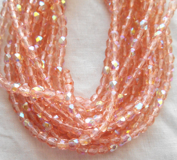 50 4mm Czech glass beads, Pink AB, firepolished, faceted round beads C2750