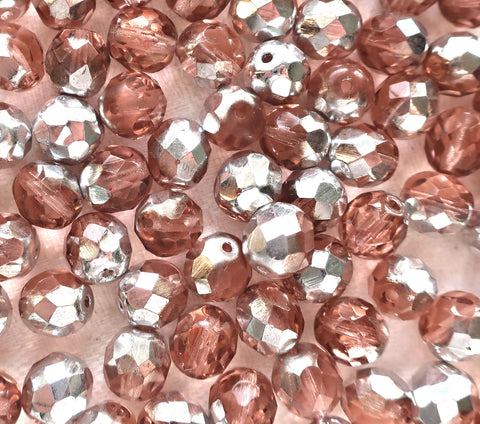Lot of 25 8mm Pink & Silver Czech glass beads, faceted round firepolished beads C9625
