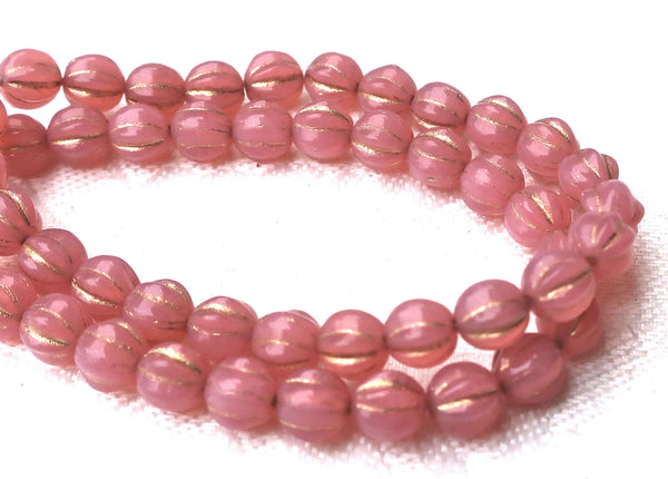 25 Czech pink glass melon beads, 6mm milky pink opal with gold accents. pressed Czech glass beads C0801 - Glorious Glass Beads