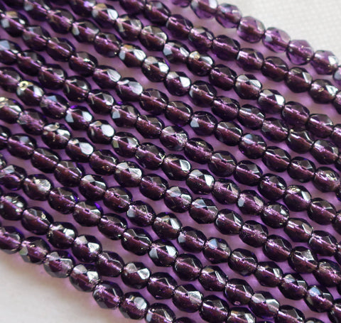 Lot of 50 4mm Tanzanite silver lined Czech glass beads, purple, amethyst, firepolished, faceted round beads, C5650