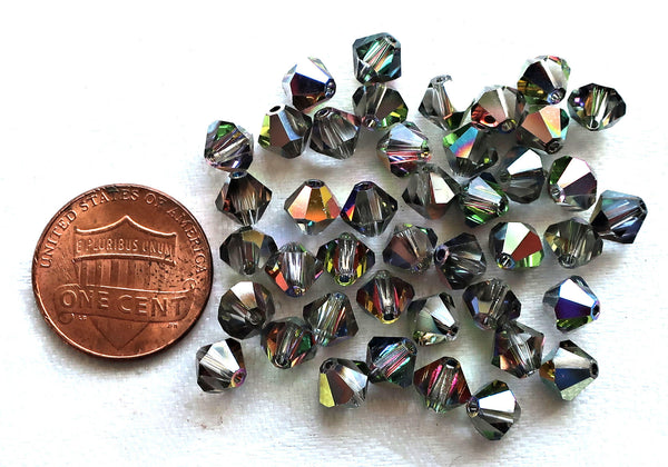 Lot of 24 6mm Crystal Vitral Czech Preciosa glass bicone beads, faceted silver, vitrisl bicones C7801 - Glorious Glass Beads