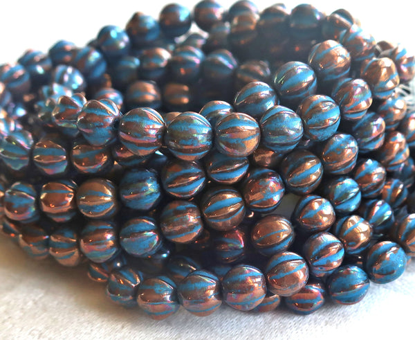 25 Czech 6mm glass melon beads, metallic bronze with a turquoise wash, earthy, rustic, pressed beads 52101