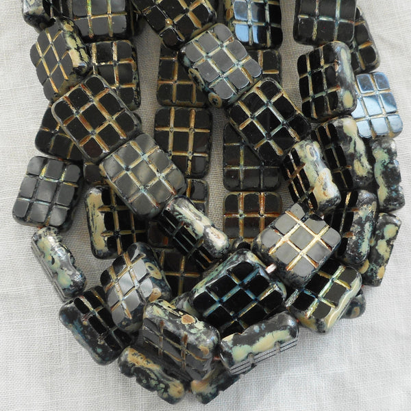 Five large 15 x 13mm jet black picasso, rectangular table cut beads - square, carved picasso one hole rectangle beads, Czech glass beads C1111 - Glorious Glass Beads
