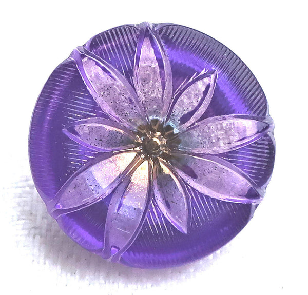 One 18mm Czech glass button, lavender lotus flower on a purple background with gold accents, decorative floral shank button 53201 - Glorious Glass Beads