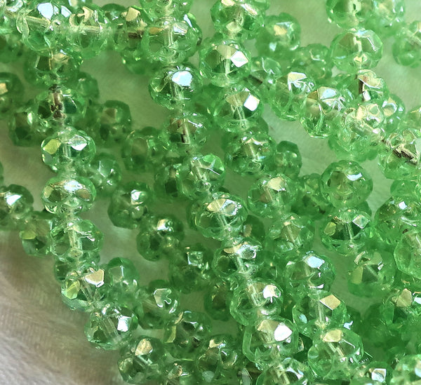 Lot of 25 Luster Peridot Green 5 x 6mm Rosebud beads, faceted, firepolished, antique cut, Czech glass beads C1801