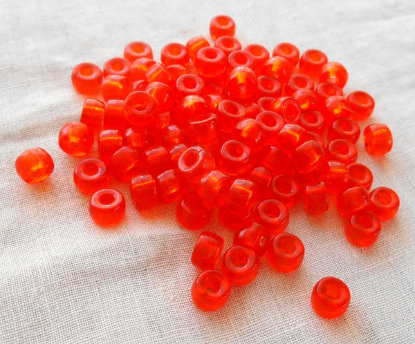 50 6mm Czech Hyacinth, Bright Orange, glass pony roller beads, large hole crow beads, C3550 - Glorious Glass Beads
