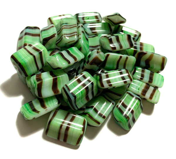 Six Czech glass rectangle beads - 16 x 12mm green, brown, and white striped - 4-sided diamond shaped large, chunky rectangle beads C0005