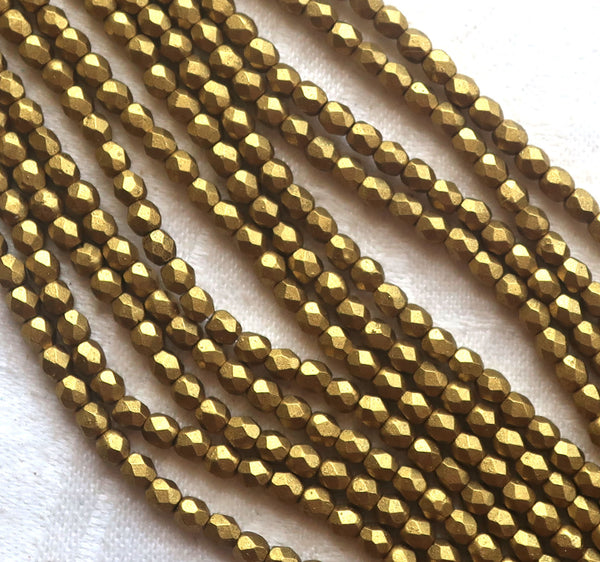 Lot of 50 3mm Czech glass beads, Matte Metallic Aztec Gold, faceted round firepolished beads C1550 - Glorious Glass Beads