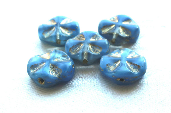 Five Czech glass coin beads, 14mm opaque blue & clear glass with gold accents, table-cut, carved, disc beads, Celtic, Iron cross C5701