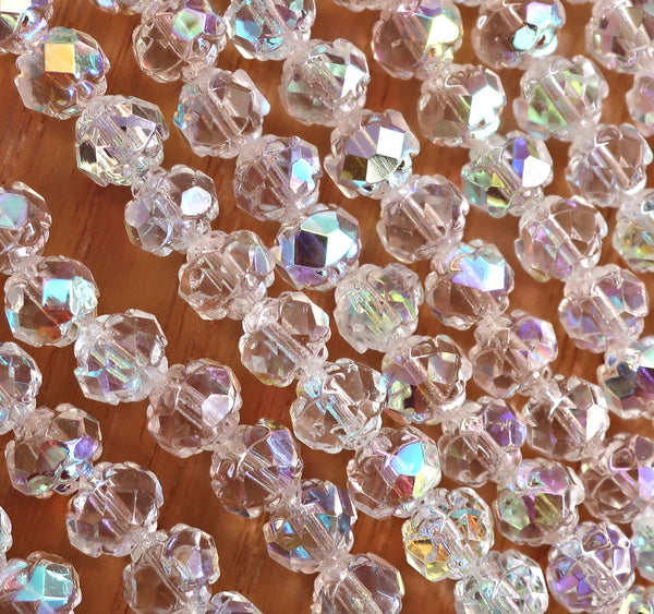 25 Czech glass small rosebud beads - Crystal AB beads - 5 x 6mm - faceted firepolished antique cut beads - C0501 - Glorious Glass Beads