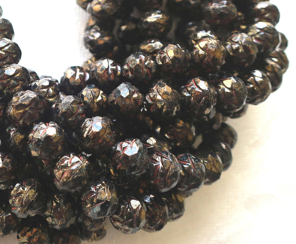 Twelve Opaque Jet Black Bronze Picasso 7 x 8mm Rosebud beads, faceted, firepolished, antique cut, Czech glass beads C2901