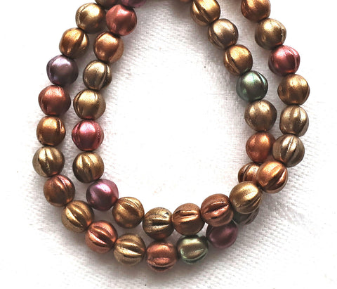 25 Czech 6mm glass melon beads, metallic bronze iris mix beads, earthy, rustic mix. pressed beads C0801 - Glorious Glass Beads