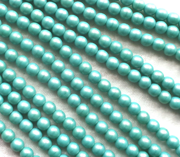 Lot of 50 6mm Czech glass beads, Opaque Cosmic Twinkle Turquoise blue luster smooth round druk beads 22150 - Glorious Glass Beads