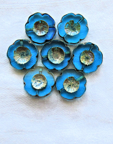 Lot of five 14mm Czech glass flower beads, table cut, carved, transparent capri blue picasso Hawaiian flower beads C02101 - Glorious Glass Beads