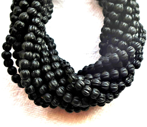 Lot of 100 3mm Jet Black melon beads, Czech pressed glass spacer beads C21101