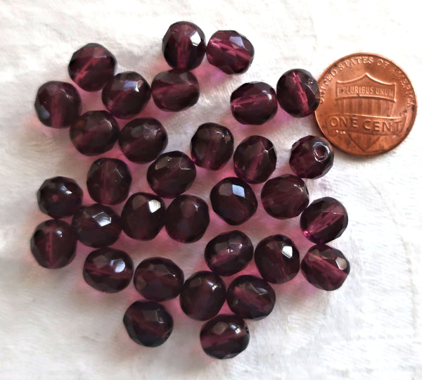 Lot of 25 8mm dark amethyst, purple faceted, round, firepolished Czech glass beads C0625 - Glorious Glass Beads