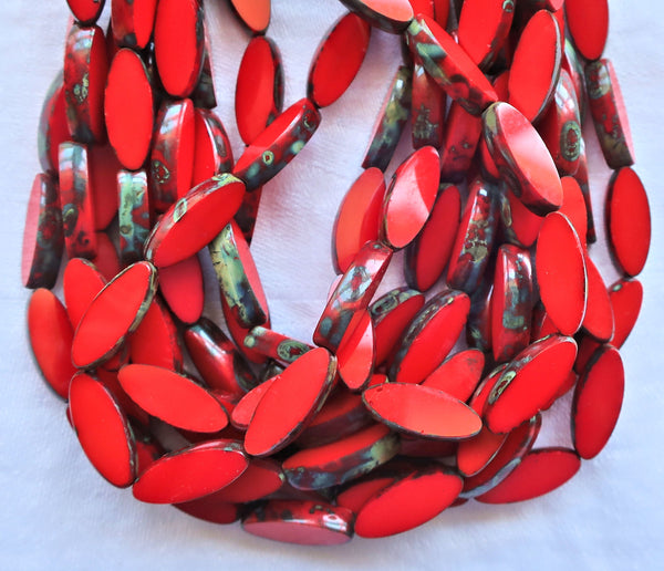 Ten Czech glass spindle beads - 16 x 6mm - opaque bright cherry red table cut picasso - almond shaped rustic earthy tube beads C92101 - Glorious Glass Beads