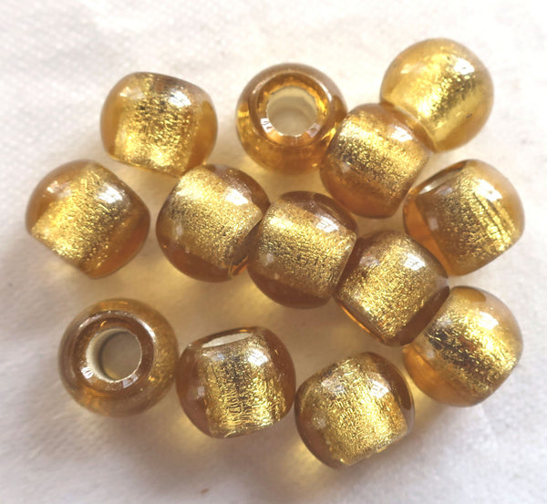 Lot of 6 12mm light Topaz Silver Lined big hole Czech glass druk beads, large 4mm hole druks C8401 - Glorious Glass Beads
