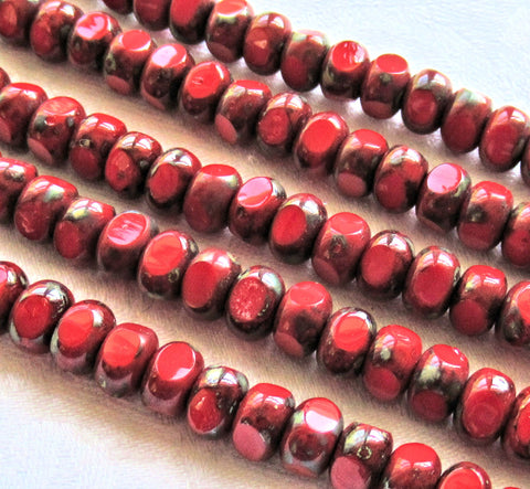 Strand of 37 Tricut - Tri-cut - Round opaque red picasso Czech glass beads - table cut 7mm x 4mm rustic earthy beads C00219 - Glorious Glass Beads