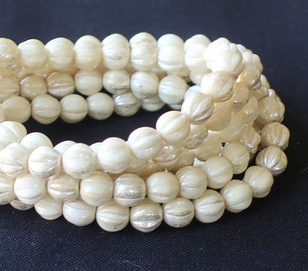 25 opaque white, ivory mercury melon beads, 6mm pressed Czech glass beads with a white luster finish C0801 - Glorious Glass Beads