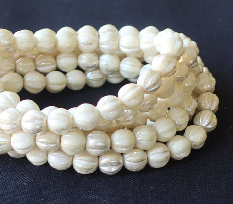 12 Ivory with Mercury Finish Czech Glass Roller Beads 6mm x 9mm