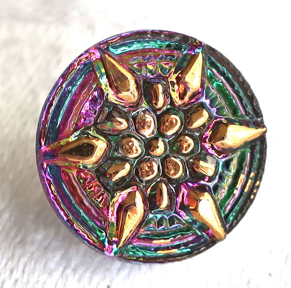 One 13mm Czech glass button with a gold raised star - iridescent pink & green decorative shank button 09101