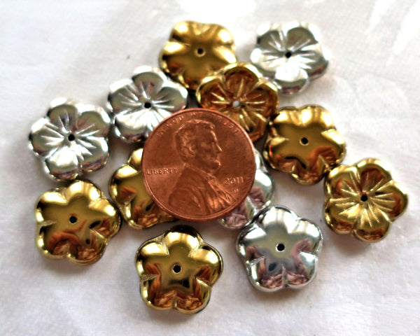 Ten 14mm Metallic California Silver & Gold flower beads, Czech glass spacer or cap beads C0901