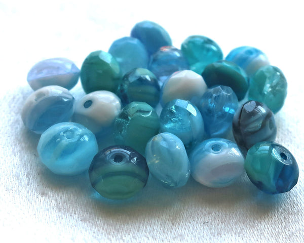 25 Czech glass puffy rondelles, 6 x 8mm transparent & opaque aqua blue and white color mix, faceted puffy rondelle beads, sale price 03101 - Glorious Glass Beads